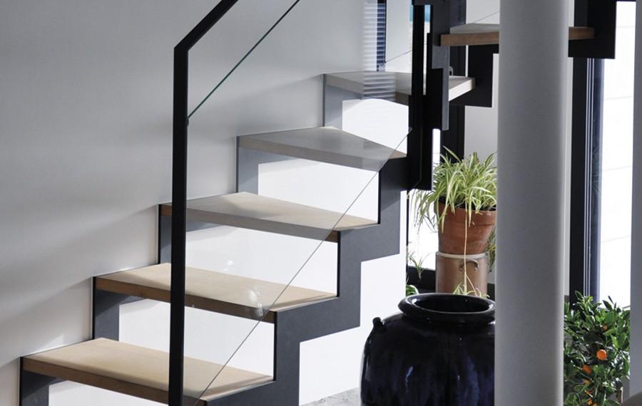 Escalier double cremailliere munch et foucher portes fen tres escalier portails et - Escalier verre et metal ...